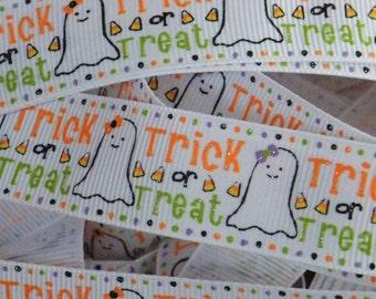 7/8 Ghost Ribbon, Halloween Ribbon, Candy Corn, Trick or Treat Ribbon, Ribbon by the Yard