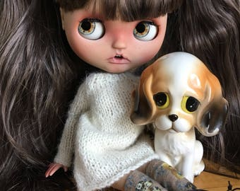 Sad, Big Eyes, Dog, Porcelain Figurine, Vintage, 1960's, Friend of Blythe