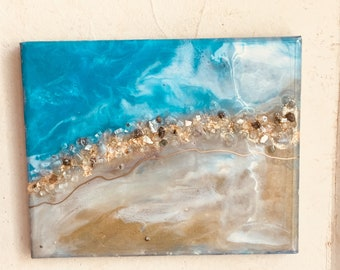 11x14 OCEAN original resin art with turquoise, gold, natural stones, glitter and gold leafing.