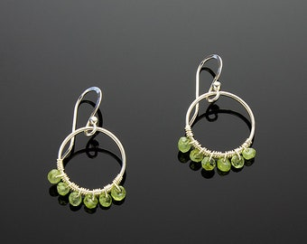 Handmade Sterling Silver and Peridot Hoop Earrings