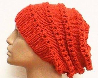 Orange lacy slouchy hat, pumpkin orange hat, slouchy hat, lacy hat, toque, orange hat, womens knit hat, chemo cap, garden hat, hiking hat
