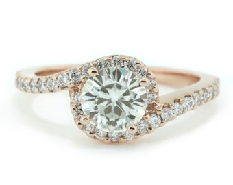 Rose Gold Diamond Halo Engagement  Ring Moissanite Center -  Whirlwind of Love