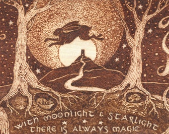 Magical Hare and Full Moon over Glastonbury Tor Pyrography on Beechwood ply sheet.