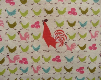 Print fabric with chickens. FARMDALE CROSSING by Alexander Henry Fabrics Collection 2009