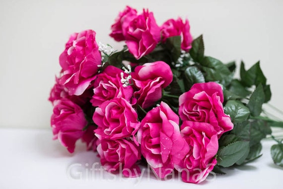 Hot pink silk flowers 24pc silk open roses pink and white spotted hot pink silk flowers 24pc silk open roses pink and white spotted roses cheap silk flowers bulk flowers fuchsia flowers fushia roses from giftsbynanas mightylinksfo