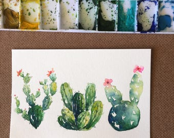 Original Watercolor Cactus Postcard Painting, Watercolor Succulent Painting, Cactus decor, Christmas Gift, Christmas Postcard