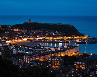 Scarborough By Night, A4 Mounted Print