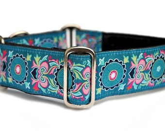 Martingale Collar, Martingale Dog Collar, Whippet Collar, Greyhound Collar, Girl Dog Collars, Dog Lover Gift - Medallion Collar - 1.5""