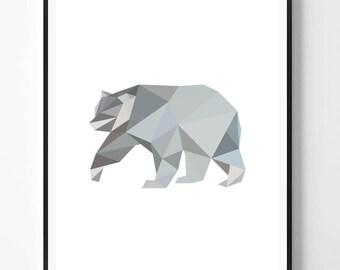 Bear Print, Bear printable Wall Art, Polygonal bear, Geometry, Animal print, Animal Decor, Geometry Animal Print, Scandinavian printable