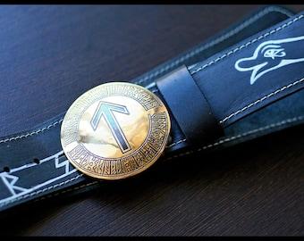"""Leather belt brass buckle """"Snake Uroboros"""" (rune)"""