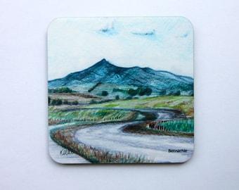 Artwork Coaster, Landscape Art Drinks Coaster, Bennachie Drinks Coaster, Drinks Mat, Cork Coaster