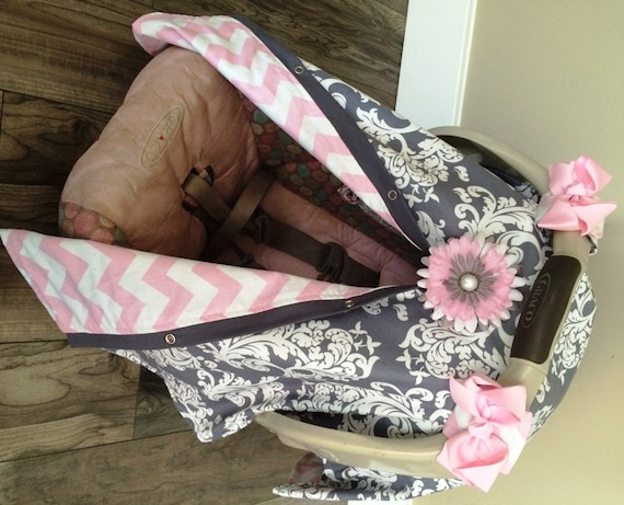 Carseat Canopy Baby pink and Grey  STUNNING / Car seat cover / car seat canopy / carseat cover / carseat canopy / nursing cover