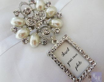 Stunning Rhinestone and Pearl Wedding Bouquet Photo Brooch with pin - Insert your own photo