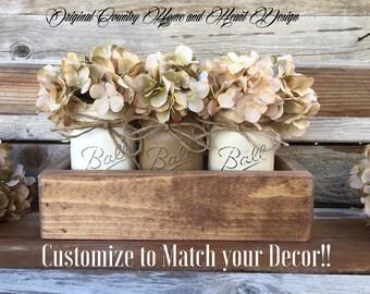 Farmhouse Centerpiece, Mason Jar Centerpiece, Rustic Wood Planter Box With 3 Pint Ball Mason Jars,Vintage Style Farmhouse Decor, Mason Jars