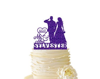 Glitter Mr. and Mrs. Saluting Soldier w/ Bride Personalized W/ Name and Date or Initials - Wedding - Anniversary - Acrylic Cake Topper - 147
