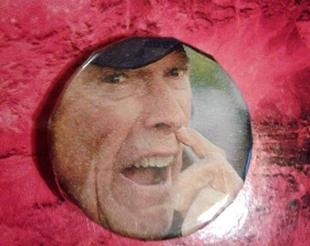 Clint Eastwood picking his nose 1 inch pin//hilarious pins//clint eastwood//stay weird