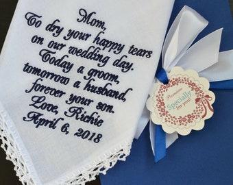 Wedding handkerchief for Mother of the Groom from son, Wedding gift for mom, Mother of the groom gift from son, Embroidered handkerchief