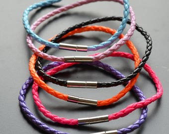 Braided cord color choice to customize metal clasp bracelet