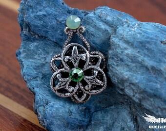 Floral Bindi with Swarovski Crystals - Peridot & Chrysolite Opal - Gothic Bindi