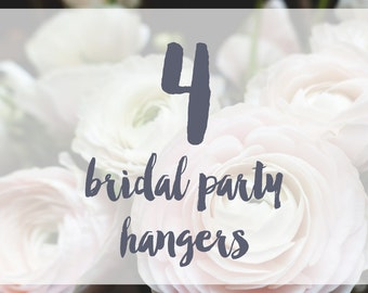 4 Bridal Party Hangers / Bridesmaid Hangers / Maid of Honor / Mother of the Bride / Wire Name Hangers / 5 Hanger Colors / 14 Wire Colors