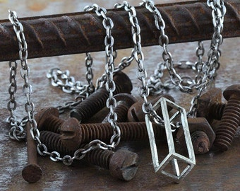 Silver Cube Necklace Silver Chain Mens Rectangle Pendants Jewelry from Carpe Diem