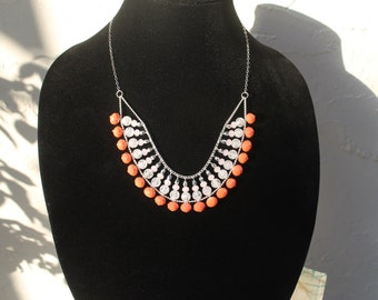20% OFF! Coral & Pink Beaded Bib Statement Necklace