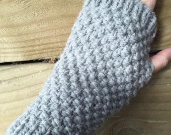 Handmade Grey Handwarmers, Fingerless gloves, alpaca handwarmers, grey alpaca gloves, mens gloves, ladies grey gloves, grey handwarmers
