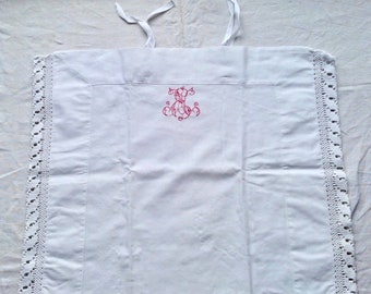 Antique Cotton Cushion Cover Vintage Pillow Case, White Bedding French Home Decor Red Embroidery
