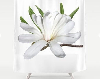 Star Magnolia nature inspired shower curtain, bathmat, bathroom decor, country home decor, rustic home decor, woodland or nature lover decor