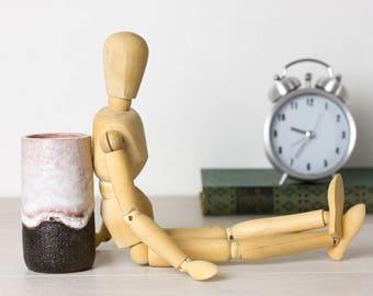 The little owl, ceramic Studio, cylinder vase with sparkling glaze