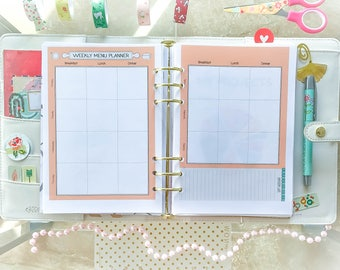 Menu Planner A5 Filofax Inserts Meal Printable A5 Menu Inserts A5 Menu Plan Shopping List A5 Inserts Grocery List A5.  PDF