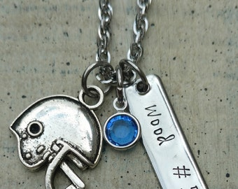Hand stamped name and Number Football Player mother pendant charm necklace with birthstone crystal / Custom Personalized Sports Jewelry