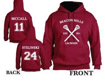 Teen Wolf Beacon Hills Lacrosse Hooded Sweatshirt Sports Scott McCall 11 Hoodie Stiles Stilinksi 24 Lacrosse Hoodie