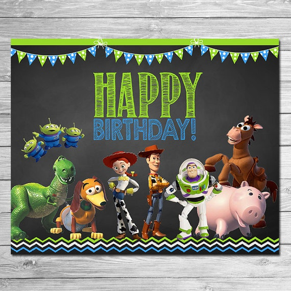 Toy Story Happy Birthday Sign Chalkboard Green Blue Toy