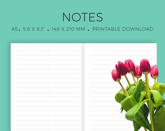 TN A5 Inserts, Traveler's Notebook Insert, Printable Notes, Ruled Paper, MO2P, Notebook Pages, Organizer, Blank Notes, Minimalist Layout