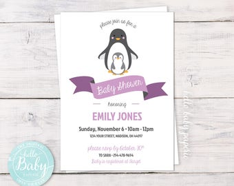 Penguin Baby Shower - Penguin Shower Invitation - Baby Shower Invitation - Penguin and Baby - Purple Baby Shower - Digital Download