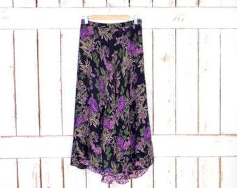 Vintage black/purple floral reversible sheer gauzy maxi skirt/long floral skirt/festival skirt