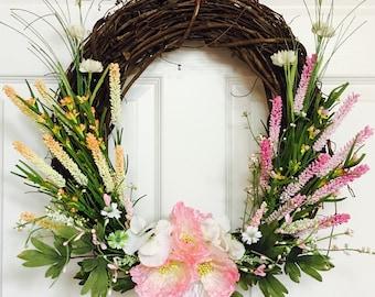 Summer wreath for front door,Flower berry wreath,Front door flower wreath