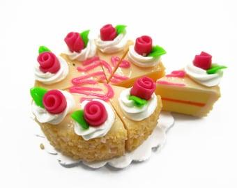 Dollhouse Miniatures Food 8 Cuts Slice Orange Cake 3 cm Rose Flower Supply Charms - 14336