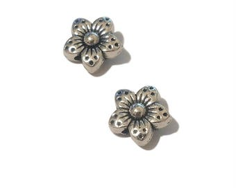 6 Flower Spacer Beads | Silver Flower Spacers | Flower Spacer | Flower Beads | Jewelry Findings | Ready to Ship from USA | AS242-6