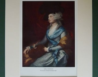 1950s Vintage Print Of Mrs Siddons By Thomas Gainsborough - Fine Art Print Of An Oil Painting - Theater Gift - Available Framed - Matted Art