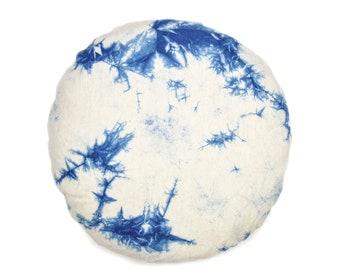 "Shibori Indigo Round Pillow, Sky Pattern, 16"" Hand Dyed Linen and Cotton Cushion"