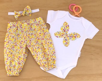 Girls clothing set, Baby Butterfly outfit, Girl flower set, Girl butterfly onesie set, Butterfly bodysuit, Baby girl clothing