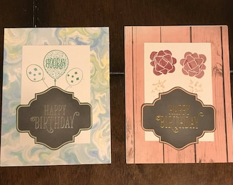 Handmade Set of 2 Happy Birthday Cards with Envelopes Blank Inside