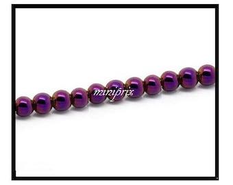 X 5 round Hematite beads purple 10mm.