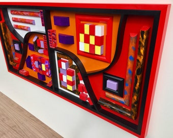 Stunningly  Colourful,detailed wall art piece, Wood Wall Art, Wall hanging, 3D art piece,Corporate, Reception art, Office, Home  sculpture