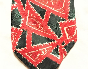 Vintage 40s Green Red Abstract Pattern Tie