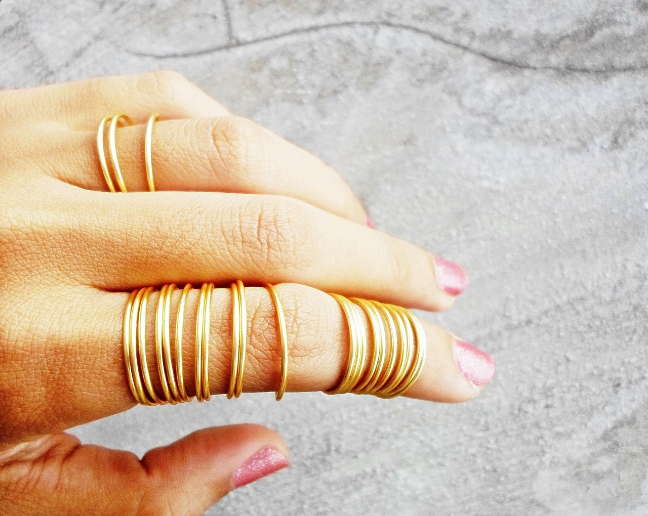 24 Stacking Rings Gold Full Finger Ring Coil Dainty /
