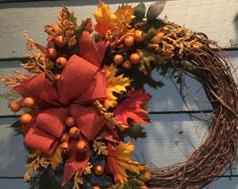 LEAVES & BERRIES Fall Wreath