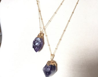 Natural Raw Amethyst Crystal Pendant Necklace with Gold Chain 22 inches Gold Electroplate Purple Amethyst Necklace (39-40)
